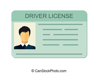 Car driver license identification with photo isolated on white background, driver license vehicle identity in flat style.