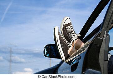 Car driver relaxing
