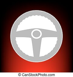 Car driver sign. Postage stamp or old photo style on red-black gradient background.