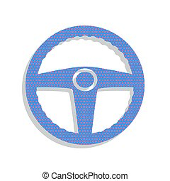 Car driver sign. Vector. Neon blue icon with cyclamen polka dots