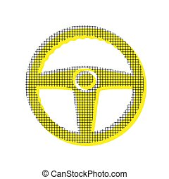 Car driver sign. Vector. Yellow icon with square pattern duplica
