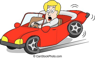 car driver slams on the brakes - vector illustration of a...