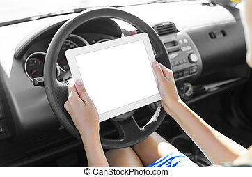 Car driver with tablet pc - Woman in the car with tablet pc