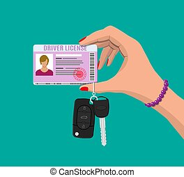 Car driver woman license, car keys in hand
