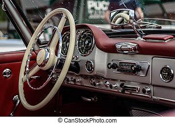 Car - Driver's cockpit of a classic car