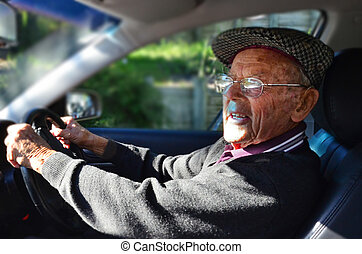 Car Driving - A very old man with a valid driving license...