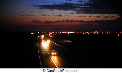 Car Driving by night on highway