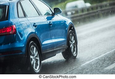 Car Driving in Heavy Rain