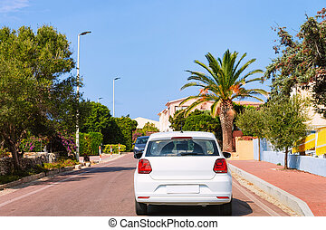 Car driving in highway road Capo Testa - Car with driving in...