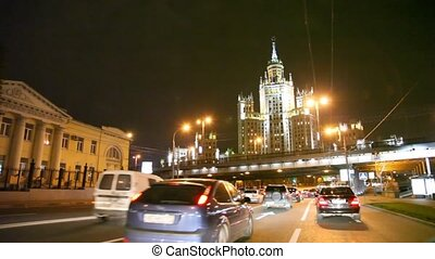 Car driving in night moscow, russia