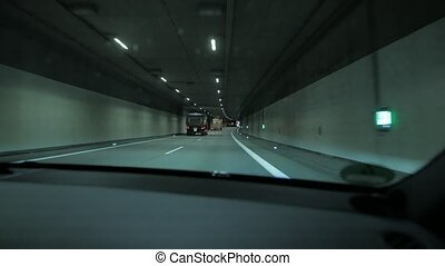 Car Driving In The Tunnel