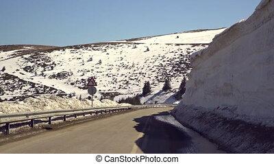 Car driving on narrow road in Beklemeto pass, Balkan ...