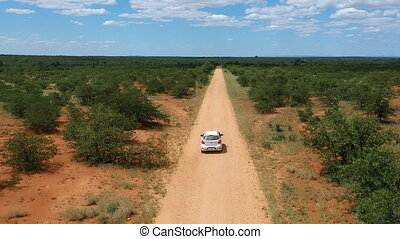 Car driving on savannah road in South Africa. Aerial view.