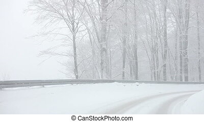 Car driving on Snow Blizzard on winter forest road