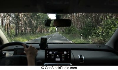 Car driving on two lane road in the forest