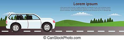 Car Driving Road In Nature Over Green Landscape Horizontal Banner With Copy Space