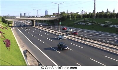 Car driving traffic jam