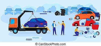 Car dump junkyard vector illustration vector illustration, ...
