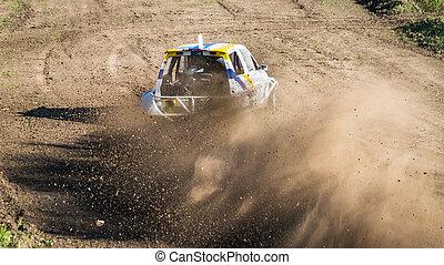 """Car during a """"stock car cross"""" race."""
