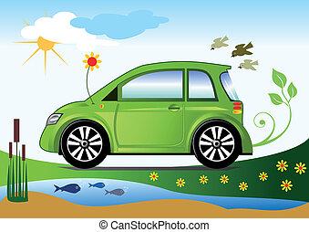 car, ecológico, conceito, amigável