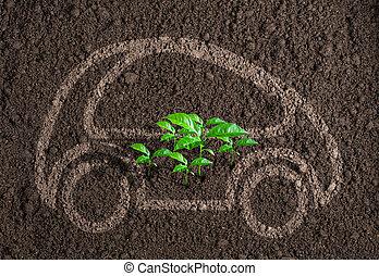 car, ecológico, conceito, ou, transporte