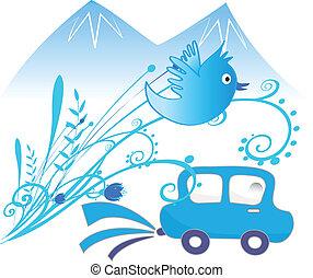 Car ecological background vector