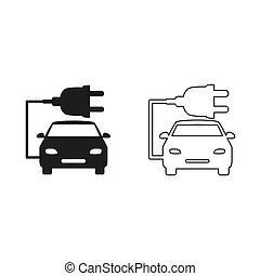 car ecology - green vector icon