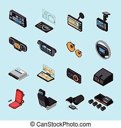 Car Electronics Icons Set