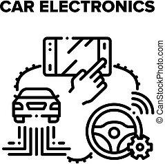 Car Electronics Vector Black Illustration