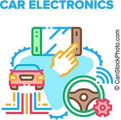 Car Electronics Vector Concept Color Illustration