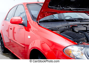 car, em, auto repare, shop.