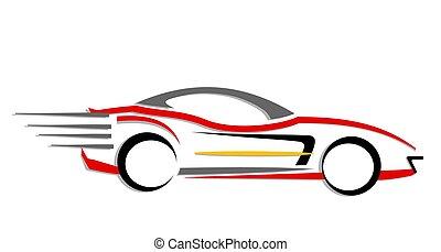 car, em movimento, rapidamente, ícone