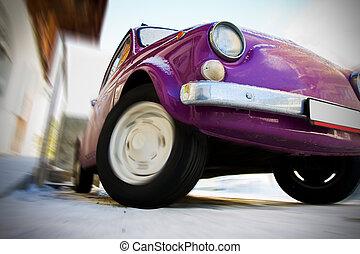 car, em movimento, rapidamente