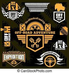 car, emblemas, jogo, icons., desenho, emblemas, elementos, suv, fora-estrada