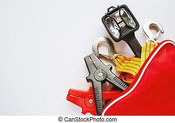 Car emergency kit on white background