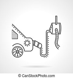 Car emission control device line vector icon