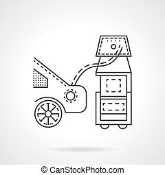 Car emission control line vector icon