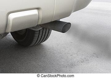 Car emissions exhaust - A car emitts carbon monoxide gas ...
