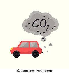 Car emitting carbon dioxide, CO2, environmental pollution problem vector Illustration on a white background