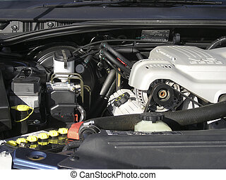View of car engine bay in vehicle displayed for sale.