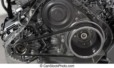 car engine belt and gears detail