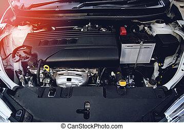 car engine close up detail of new motor mechanic