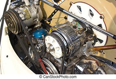 Car engine close up.