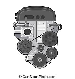 Car Engine Concept on White Background. Vector