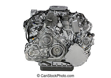 car engine front view isolated on white
