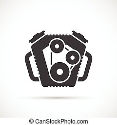 Car engine icon. Car repair service spare part