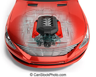 car engine inside the car 3d render on white