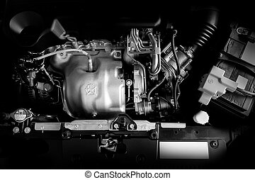 Car engine  motor  concept Close up detail of new Car engine part Black and white.