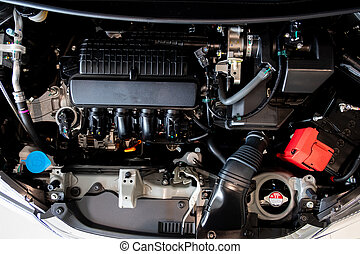 Car engine  motor  concept Close up detail of new Car engine part