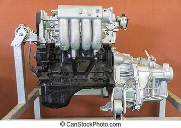 Car engine on fair stand